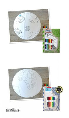 The universe is waiting for a makeover - just inflate the 40 cm ball and get cracking using our famous Seedling color markers in rainbow hues. ==
