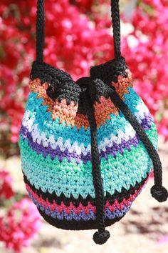 532e74ad9db7  NWOT  The Sak crocheted hobo bag purse rainbow zippered stripe casual  crossbody Crochet Hobo