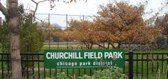 CHURCHILL FIELD PARK is located in the Logan Square community (on Damen Avenue, four blocks south of Armitage Avenue). It is a little over one acre and contains a junior baseball field and a dog-friendly area.The park will be one of many access point to the Bloomingdale Trail - the planned multi-use recreational trail being built along the elevated railline along Bloomingdale Avenue (approximately 1800 North) from Ashland (1600 West) to Ridgeway (3732 West).