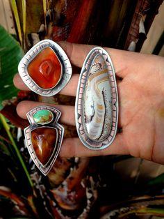 Druzy agate ring. Orange stone Size 7. Sterling Silver by Arrok