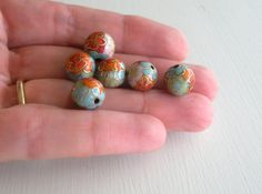 Colorful Floral Gold Cloisonne Beads 10mm 6pk by FiveSisters