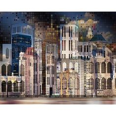 Ebern Designs Karsyn Dark Cityscape Mosaic Texture Wall Mural Size: L x W Scenic Wallpaper, Brick Wallpaper Roll, View Wallpaper, Botanical Wallpaper, Wallpaper Size, Modern Wallpaper, Geometric Wallpaper, Textured Wallpaper, Textured Walls