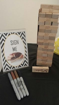 Sign jenga blocks to keep special messages from housewarming party... *Sign created on Word