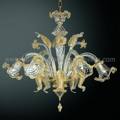Canal Grande 6 lights Murano glass chandelier transparent gold by Murano glass chandeliers