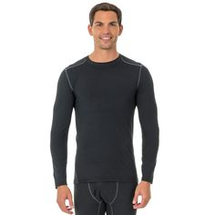 Men's Fruit of the Loom Signature Performance L2 Thermal Base Layer Tee, Size: Xl Tall, Black
