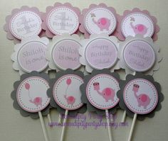 Baby Girl Elephant Cupcake Toppers. $10.00, via Etsy.