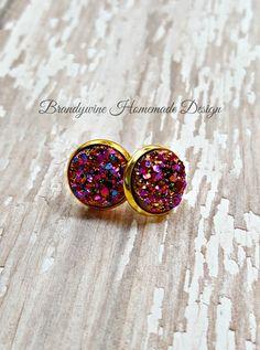 Druzy Earrings, 12 mm Druzy, Druzy Earrings, Multi-Color Druzy Earrings, Natural Color Druzy Earrings, Affordable Jewelry, Earth Jewelry by BrandywineHD on Etsy