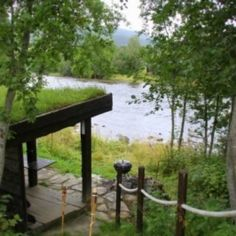 Granly Fishing & Hiking Lodge owns the fishing rights to this section of the Orkla River.  Enjoy great fishing or relax by the river at this quaint hut! www.flyfishingnorway.com Cabins, Fishing, Relax, River, Plants, Plant, Cottages, Cabin, Peaches