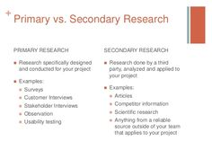 +  Primary vs. Secondary Research PRIMARY RESEARCH   Research specifically…