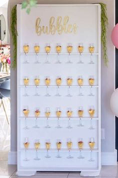 Fall in love with this fab Galentine's day party! The champagne wall is amazing!! See more party ideas and share yours at Catchmyparty.com #catchmyparty #partyideas #galentines #gals #galentinesdayparty #galentinesday #champagne #bubbles