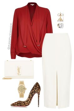Untitled #1633 by dnicoleg on Polyvore featuring polyvore fashion style River Island ADAM Christian Louboutin Yves Saint Laurent Rolex clothing