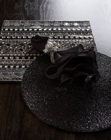Black and silver beaded placemat.