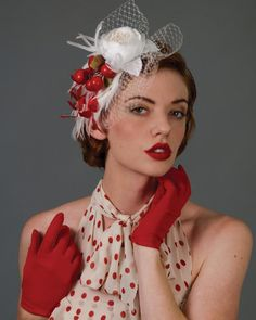 Louise Green hat fascinator with cherries