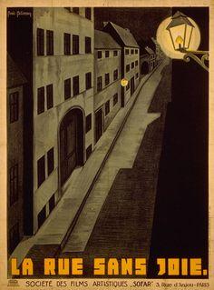 """Movie poster by Boris Bilinsky, 1925, """"La rue sans joie"""" (Joyless Street) directed by G.W. Pabst, Germany."""