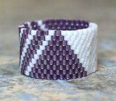 PEYOTE RING  Pyramids and Stripes  Custom by BeadSplashbyRobyn, $10.50