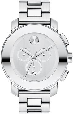 Movado Bold - Large Movado BOLD chronograph, 43.5 mm stainless steel case with mirror-finish bezel, silver-toned dial, stainless steel link bracelet with push-button deployment clasp, K1 crystal, 1/1 Swiss quartz chronograph movement, water resistant to 30 meters.