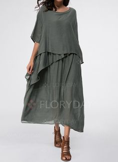 Dresses - $48.51 - Cotton Solid Half Sleeve Maxi Casual Dresses (1955139037)