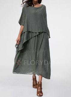 Vestidos - $48.51 - Algodão Reto Manga até a metade do braço Longo Informal Vestidos (1955139037)