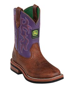 fa4cc4a1603d83 John Deere Dark Purple   Brown Square-Toe Leather Cowboy Boot - Toddler    Girls. Children s Cowboy BootsPull ...