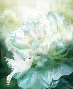 White Peony Innocent beauty None can resist Your fragrance Such sweet bliss As you welcome a Hummingbird's kiss.  Hummingbird Kiss prose by Carol Cavalaris  The painting of a white hummingbird getting nectar from a big white peony blossom is from the Language Of Flowers Collection of art by Carol Cavalaris.