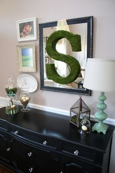 Moss letter- Would look great in my living room hung from the fireplace mantel. Decorating Your Home, Diy Home Decor, Decorating Ideas, Decor Ideas, Diy Ideas, Craft Ideas, Moss Letters, Big Letters, Black Buffet