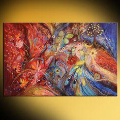 The Flowers and Butterflies - Peinture,  22x2x35 in ©2014 par Elena Kotliarker -                                                                                                Expressionnisme abstrait, Dada, Toile, Art abstrait, Oiseaux, Fleur, flowers, butterfly, birds, jewish art, swarovski crystals, blue, red, hebrew words