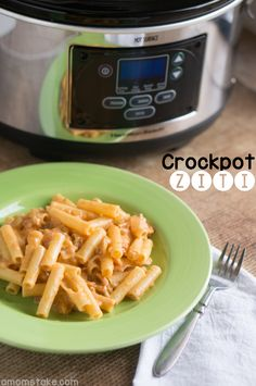 Easy crockpot chicken ziti or spaghetti recipe that is so flavorful and will easily become a favorite dinner by #amomstake