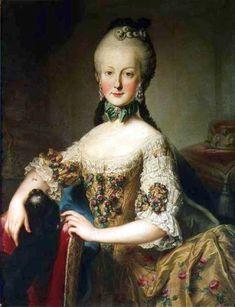 Martin van Meytens. Archduchess Maria Elisabeth Habsburg-Lorraine, sixth child of Empress Maria Theresa of Austria and Emperor Francis I. 1760s. Oil on canvas. Schloss Schönbrunn. Vienna, Austria.