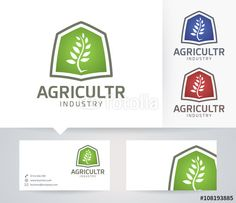 Agriculture Industry vector logo with alternative colors and business card template - Buy this stock vector and explore similar vectors at Adobe Stock Agriculture Industry, Agriculture Logo, Free Vector Files, Vector Free, Business Cards, Alternative, Industrial, Graphics, Templates