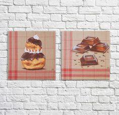 Chocolate Pastry, Cake Chocolate, Religious Cakes, Decoration Shabby, Parisian Cafe, Painted Cakes, Illustration, Original Paintings, Creations