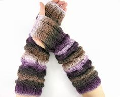 long knit fingerless gloves knit arm warmers knit by piabarile, $37.00