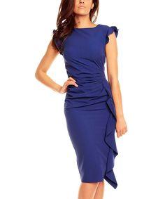 Blue Waterfall Pencil Dress