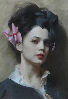 """Teresa"" - Nick Alm (b. 1985), oil on canvas {figurative #impressionist art female head portrait woman face cropped painting #loveart} nickalm.com"