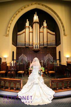 Oak Lawn United Methodist Church, Dallas  #wedding #ceremony #Oaklawn, #Traditional, #Elegant, #Purple, #Bride #WeddingDress #Bridals #Train #Bustle