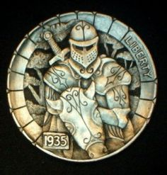 "Hobo Nickel ""Sir Lancelot du Lac"" Knight & Horse Full Horn Howard Thomas OHNS"