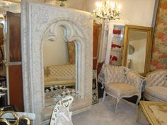 Architecturally Chic Decorative Mirror Available at Montiques.com Vintage Decor, Oversized Mirror, Chic, Furniture, Home Decor, Shabby Chic, Elegant, Classy, Interior Design