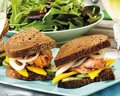 Spice-Rubbed Salmon on Pumpernickel with Greens in a Mustard Vinaigrette