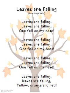 "Song, ""Leaves are Falling"" (tune: ""Jingle Bells"") - Gross Motor Activity- Identifying Body Parts Kindergarten Songs, Preschool Music, Preschool Lessons, Preschool Learning, Halloween Songs Preschool, Circle Time Preschool, Circle Time Activities, Songs For Toddlers, Kids Songs"