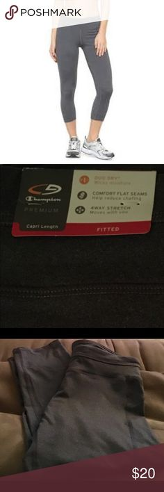 Women's Champion Premium Capri Length Fitted Pants NWT - Women's fitted Capri length pants. Comfort flat seams help reduce chafing; 4way stretch moves with you; duo dry wicks moisture. Great gray color. Champion Pants Capris