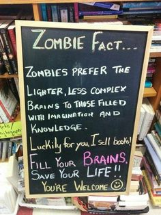 Change I sell books to We have books for library display of zombie books Library Memes, Library Signs, Library Bulletin Boards, Library Books, Library Quotes, Books To Read, Sell Books, School Library Displays, Teacher Librarian