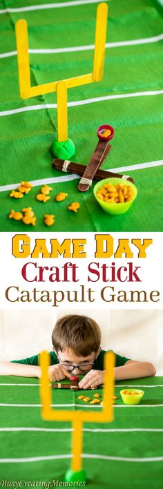 Make your Super Bowl Fun for the kids with this fun Craft Stick Catapult game. The football craft stick catapult game is quick and easy and great for Game Day