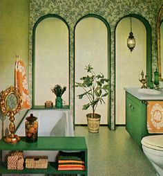 retro 60s bathroom, I could maybe paint these arches onto the wall in pink bathroom