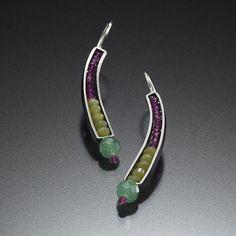 Beaded Earrings - Created bySusan Kinzig - sterling silver, Jade, Garnet and Aventurine – 110 dollars
