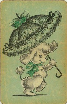 Vintage Playing Swap Card: Dog and Umbrella