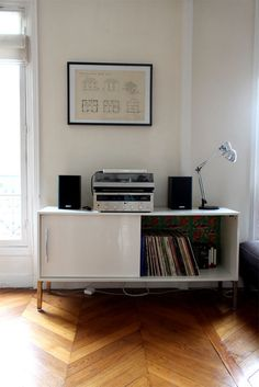 something like this for record player/speakers in the kitchen nook- need to find better made one (a little more traditional, too.)