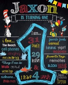 Dr Suess Birthday Chalkboard Sign Cat In by OctoberSkiesDesigns
