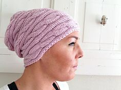 Braided baggy hat. Merino wool, knitted flat. Great fit, knitting pattern