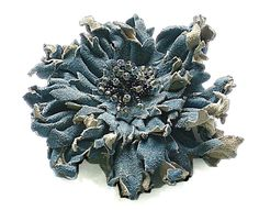 denim blue leather brooch