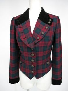 [Used] EXCENTRIQUE / British check jacket Aix Suntory click A87089_1509