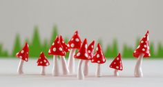 Set of ten red and white pointed toadstools for terrariums, plants or cake toppers $12